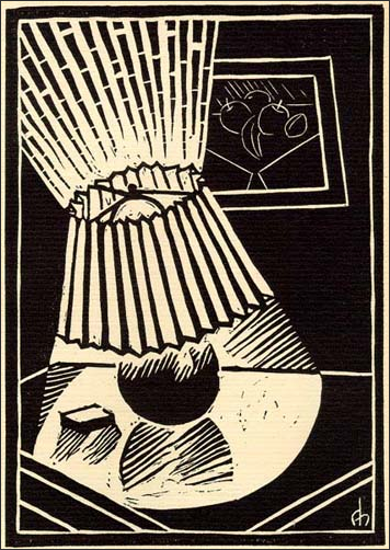 Augustus Hodges, '32, Linoleum Cut  (Lamp), The Magpie, June 1932, v. 33, n. 2, p. 42.