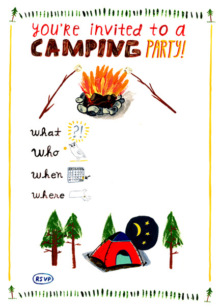 camping invitation for a kid's party. obviously with the information removed because you are not actually invited.