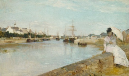 "3rdofmay:  The art: Berthe Morisot, The Harbor at Lorient, 1869. The news: ""Why Summer Vacations (and the Internet) Make You More Productive,"" by Derek Thompson on TheAtlantic.com. The source: Collection of the National Gallery of Art, Washington. Note: Why is it the French have made so much great art about vacation spots? No one did it better than the French impressionists — Boudin, Monet, etc. — who eagerly chronicled the emergent French middle class' beach holidays. My take: The impressionists (and later the fauves and others) were updating the classic painterly subject of Arcadia by including the new bourgeoisie.  This is where I'm moving soon!"