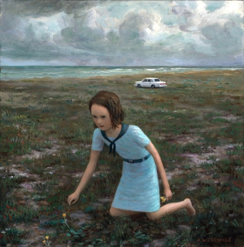 "Aron Wiesenfeld, ""Scout,"" Oil on Linen, 11"" x 11"""