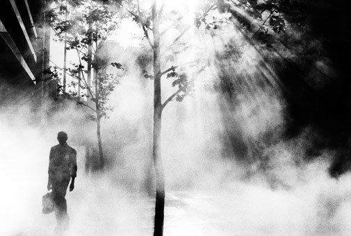 Trent Parke, An office worker on his way to work walks through Martin Place, Sydney, 2001. Thank you, wonderfulambiguity.