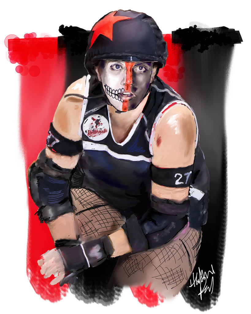 Portrait #5 in my Derby Heroes series features DeRanged, who is a jammer and blocker for the Rocky Mountain Rollergirls. Photo reference by Joe Rollerfan. Done in Corel Painter.