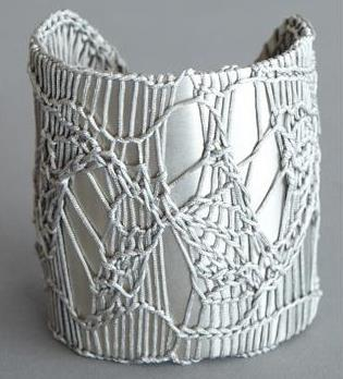 Jensen-Conroy Rhodium Cuff with Crochet  …er, more like Rhodium Cuff with Knitting, but cute cuff nonetheless.