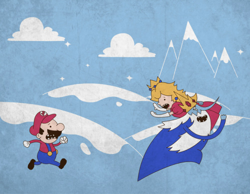 justinrampage:  Ice King grew bored with terrorizing Princess Bubblegum, Finn and Jake so he traveled to the Mushroom Kingdom to stir up some trouble. Scott Weston's mathematical shirt design is now up for vote at Qwertee. Mario's Adventure Time by Scott Weston (RedBubble) (Facebook) (Twitter)