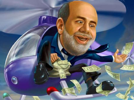 An Open Letter to Ben Bernanke This is must-read devastating tongue-in-cheek satire aimed directly at Helicopter Ben. My guess is that the threatening cowboy referred to in the letter would be none other than Ron Paul.  by Wolf Richter for Business Insider, posted  Aug. 30, 2011 Dear Ben, Please print us more money. We want you to prop up the stock market. Everybody knows it's a Ponzi scheme that will collapse without your support. You don't want us to end up like Bernie Madoff's clients. No, Ben, we love Ponzi schemes. We get in early and get out before they collapse. That's why we're rich. The bad thing is that they sometimes collapse before we can get out. But you already bailed us out twice in the last couple of years through printing trillions of dollars. Why not a third time? That will also keep the bond-market bubble inflated. We have to admit that you've done an excellent job there, hands down. Negative real yields all the way up the yield curve! Awesome. Now if you could just print a few trillions and buy up the sovereigns from the PIIGS. Euro crisis over. End of story. And we'd get richer because we'd sell them to you at face value though we bought them at fifty cents on the dollar. And why not forever? Just keep printing. Because as soon as you stop, stock markets will crash again, and credit markets will seize, and then we're back on this awful ride to hell. Of course, it'll cause inflation, which is good. You yourself said that. You stated many times that you want inflation. In fact, you said that one of the goals of the Fed, after propping up the markets, is to create inflation. So stick to it, Ben. Don't slack off suddenly just because some cowboy threatened you.  Read more:    Dear Ben, Please Print Us More Money