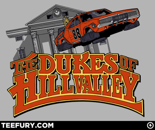 "Dukes of Hill Valley #DukesofHazzard #BacktotheFuture #Mashup @TeeFury ""Tell us a bit about this design.This  was a collaborative effort between me (Dan) and my business partner  David. I came up with the idea and did the original mock up, David did  the final art. I've always been a huge fan of Parody.  I'm also a fan of  the concept of ""Mash-Ups"", so this was the result.  Really, this idea  just popped right in there.  If this were Ghostbusters, and I were  confronted by Gozer, we'd have a giant Time Traveling Dodge Charger  attacking our city."""