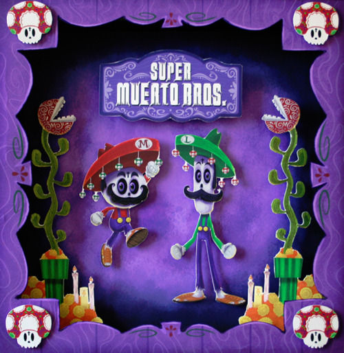 "The Mario Brothers get a Mexican sugar skull redesign by Eric Gonzalez for the upcoming Geek-Art / Autumn Society ""8-Bit Champions"" show on Sept 15th. You can find more show entries here. Super Muerto Bros! by Eric Gonzalez"