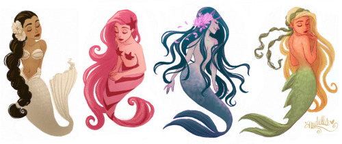 inkwings:  Mermaids by andells  I'm always surprised by how much I like mermaids… also, this person has amazing stuff on deviantart.