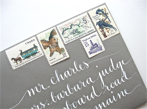 Vintage U.S. stamps + calligraphed address. Bennet lettering style. More info and images HERE.
