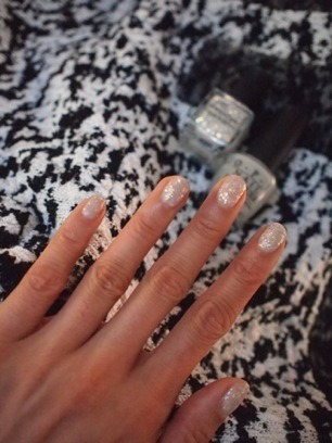 evachen212:  hooray: opal nails! two coats of @deborahlippmann Stairway to Heaven (from her holiday collection) over one super sheer coat of OPI Skull & Glossbones