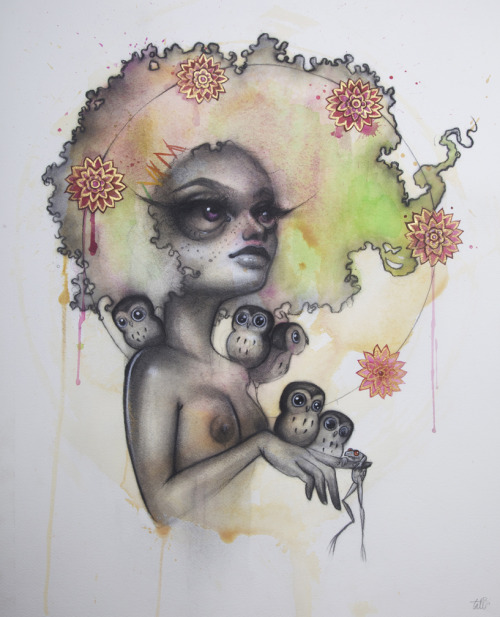 Here's a look one of the new pieces by NYC-based artist Tatiana Suarez that will be debuting this Thursday, September 1st, as part of our new show. Tatiana will be in attendance, and we will have a new print by her as well! Here's the info for the show, hope to see you here! - http://www.facebook.com/event.php?eid=183413171728261