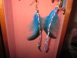 Blue Small Feather Earrings  9cm long feather w/ braided threads $4