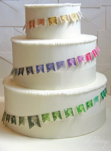 stamp cake… cute idea for travel themed weddings!
