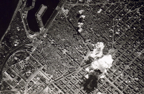 The bombing of Barcelona by Nationalist forces loyal to Francisco Franco.   Spanish Civil War - 1938
