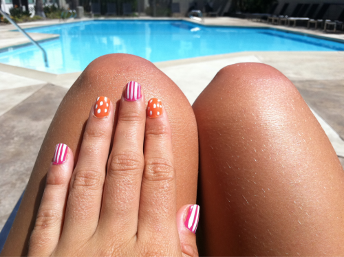 Nail stripes and polka dots