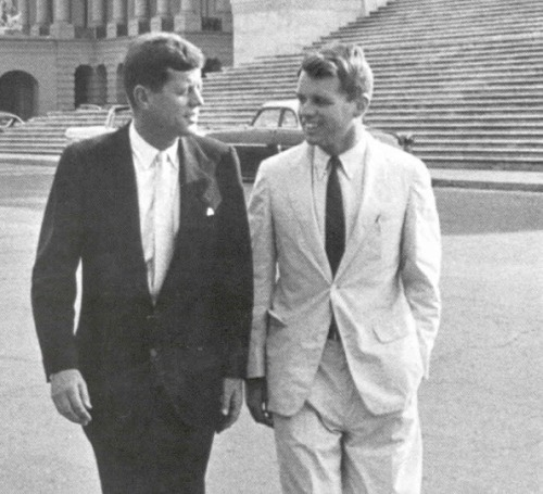 "American Icons John Fitzgerald Kennedy (1917-1963) and Robert Francis Kennedy (1925-1968) continue to have a legacy of hope that still inspires many of us.""In the long history of the world, only a few generations have been granted the role of defending freedom in its hour of maximum danger. I do not shank from this responsibility - I welcome it. I do not believe that any of us would exchange places with any other people or any other generation. The energy, the faith, the devotion which we bring to this endeavour will light our country and all who serve it — and the glow from that fire can truly light the world. And so, my fellow Americans: ask not what your country can do for you - ask what you can do for your country.""John F. Kennedy , January 20, 1961""Few will have the greatness to bend history itself, but each of us can work to change a small portion of events. It is from numberless diverse acts of courage and belief that human history is shaped. Each time a man stands up for an ideal, or acts to improve the lot of others, or strikes out against injustice, he sends forth a tiny ripple of hope and crossing each other from a million different centers of energy and daring those ripples build a current which can sweep down the mightiest walls of oppression and resistance."" Robert F. Kennedy, June 6, 1966"