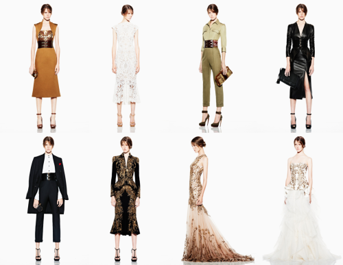 mimirose:  Alexander McQueen Resort 2012: Sarah Burton's 2012 Resort collection carefully toes the line between fetishism and ultra femininity. Feline prints in silk, dark leather and thick, waist-clinching belts suggest opulence while giving the collection a seductive undertone. In constant, Burton's use of white lace, gold brocading and ruffled chiffon gives certain pieces an ethereal and girlish air. (stills via.)