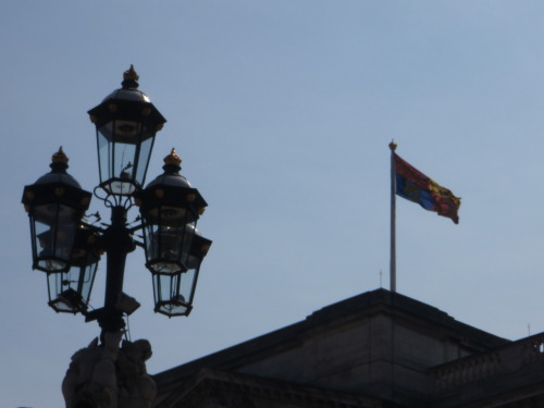 Buckingham Palace and the royal standard.