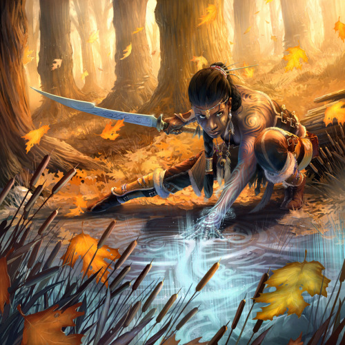 fuckyeahwarriorwomen:  [ A dark skinned woman crouches in the middle of an autumnal forest, her eyes cast upwards towards the viewer in a confident manner. Her long brown hair is styles in a rope-like braid that coils across the back of her neck and hangs almost to the ground. She wears boots, pants and a strapless bodice all made from fur-lined brown animal hide and held together with lots of straps and buckles. An exotic sword is held behind her in her right hand. Her left hand is extended downwards into what looks like water that has a huge pseudo-Celtic design covering its surface in magical looking silver; the energy from that is flowing up her arms, making the swirling tattoos that cover her exposed skin glow in a similar manner. ]