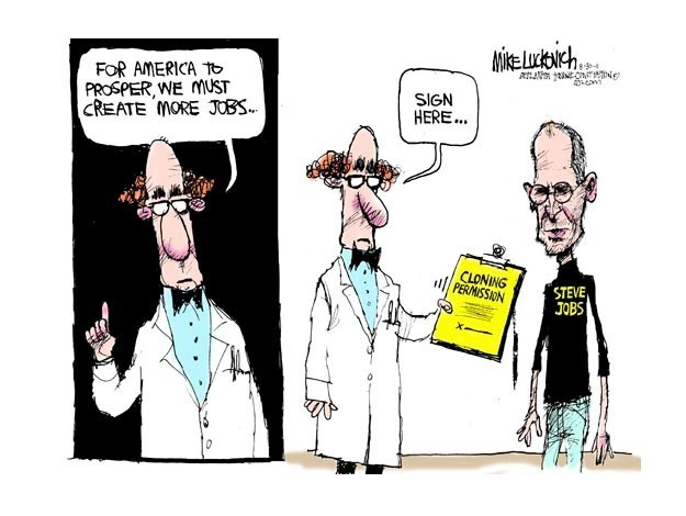 Creating jobs with Steve Jobs.  Mike Luckovich, copyright 2011 Creators Syndicate