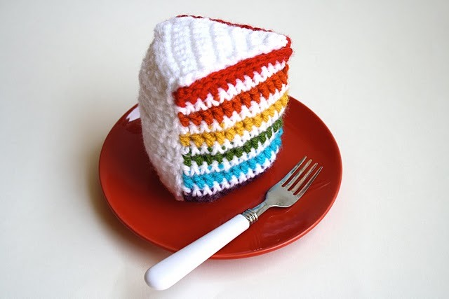 Crochet Rainbow Cake Pattern by One Sheepish Girl