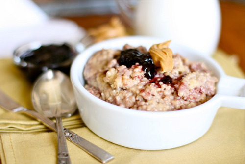 foodboners:  (via Peanut Butter and Jelly Oatmeal)  enjoying a pleasant bowl of this before I face the day.