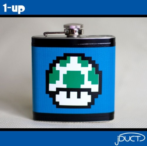 thedrunkenmoogle:  1-Up Mario FlaskCreated by Etsy user jDUCTFor sale on Etsy - $22.00