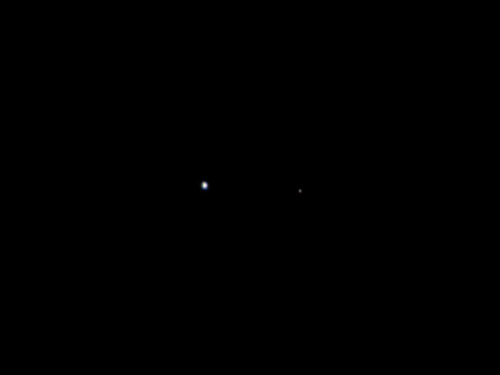 itsfullofstars:  This image of Earth (on the left) and the moon (on the right) was taken by NASA's Juno spacecraft on Aug. 26, 2011, when the spacecraft was about 6 million miles (9.66 million kilometers) away. It was taken by the spacecraft's onboard camera, JunoCam. The solar-powered Juno spacecraft lifted off from Cape Canaveral Air Force Station in Florida on Aug. 5 to begin a five-year journey to Jupiter. Image credit: NASA/JPL-Caltech