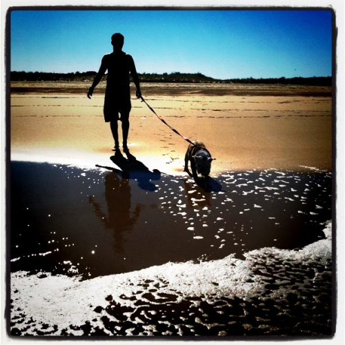 Marcus and Stella exploring the beach.