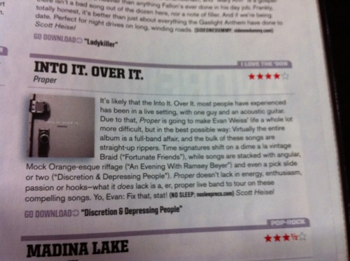 intoitoverit:  speaking of alternative press, here is the 4/5 review for Proper. really rad.