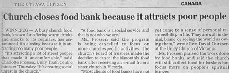 paradiscacorbasi:  Church. Closes Food Bank. Because it attracts. POOR. PEOPLE.   Excellent journalism. They stopped with snacks for their parishioners, because, as the minister specifically says, they aren't a food bank. So, obviously, the headline must state that it's a food bank. Top notch writing.