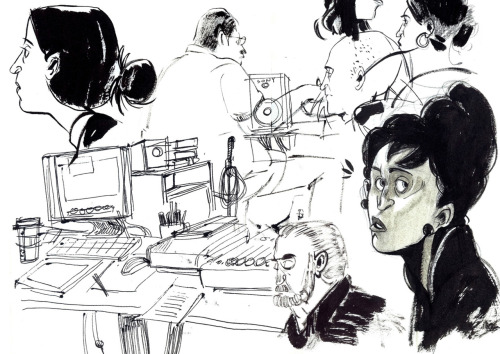 samsketch:  Some sketches from work and dinner. Today at work I got to sit in on a story meeting for the short film they're making to accompany the feature I'm working on. (Hence some of the drawings of editing equipment.) It was so interesting to see the back and forth, and the environment is so open and creative… I was encouraged to give my input. It was exciting to think my ideas were useful to the process. The other sketches are from dinner tonight. (Noodle World again, I think my boyfriend and I are going to become regulars there… the server remembered us and everything!)