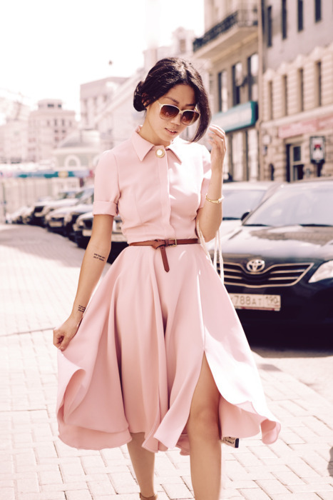 Reasons to be all up on this Dress: Prim and pristine neck lines Pastel Pink for post summer occassions Flowing and twirling with any graceful glide