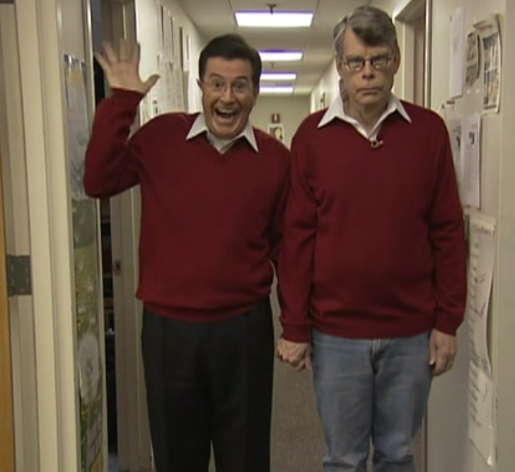 awesomepeoplehangingouttogether:  Stephen Colbert and Stephen King