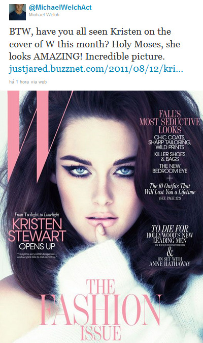 eclipsemovie1:  Michael Tweets about #kristenstewart's Wmagazine cover with pic :)