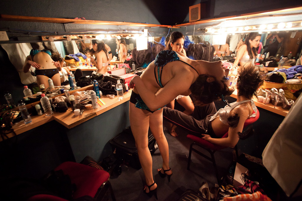 Kylie J limbers up backstage before competing in Miss Pole Dance Australia, Enmore Theatre, December 2009