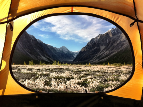 View from our tent as morning arrives in the Alaska Range.
