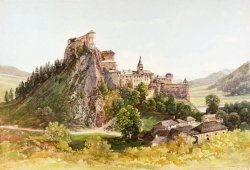 "Orava Castle Historical Drawing, Slovakia One of the most beautiful castles from 13th century standing 112 m (367 ft) high above the Orava River and its right tributary stream Racova, extended in 15th and 16th century, final look formed till beginning of 17th century, reconstructed in 1953-1968. Location : 49 15` 42"" N, 19 21` 29"" E Architecture : romanesque, gothic, renaissance, baroque Many scenes of the 1922 film Nosferatu were filmed here, although until recently it was thought to have been shot in Transylvania. Orava Castle stands on the site of an old wooden fortification (at that time only the ground floor was built of stone, while the upper floors were made of wood) dating back to Great Moravian Empire, built in stone after the Tartar invasion of 1241. Its history since then reveals a familiar pattern of construction, destruction, reconstruction, fire, various ownerships and territorial squabbles. Photo via"