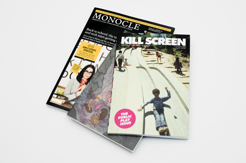 On My Desk Public Play & Intimacy Issue of Kill Screen, resting on Monocle Issue 46 Volume 05.