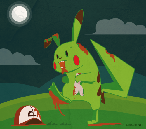 Today, Pikachu Zombie version I really want to make this illustration cause pikachu's so cute ! Even if he turns on Zombie ! Important : I'll be back in a couple of weeks ! I take some days off :) See ya !