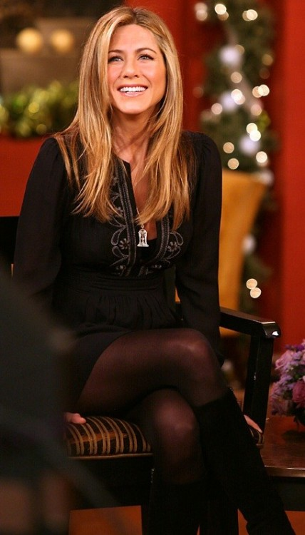 Jennifer Aniston in black tights