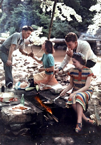 Two couples have a cookout in Cherokee National-Forest 1920 30s