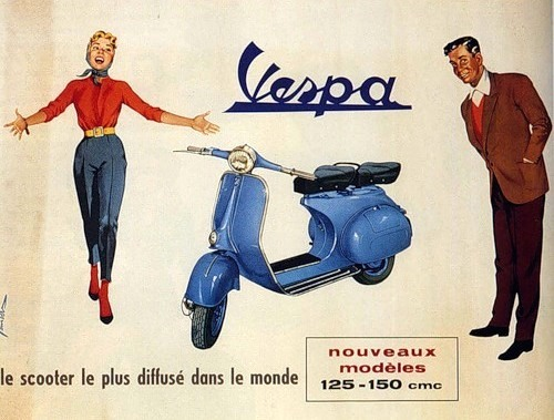 theniftyfifties:  A French 1950s Vespa advertisement.