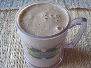 Smoothie Recipe: Cinnamon Power 3 Large Eggs 1/2 Cup Almond Milk 1 Pear, Chopped 3 TBSP (1/2 Medium) Avocado 2 tsp Cinnamon 1/4 Cup Ice