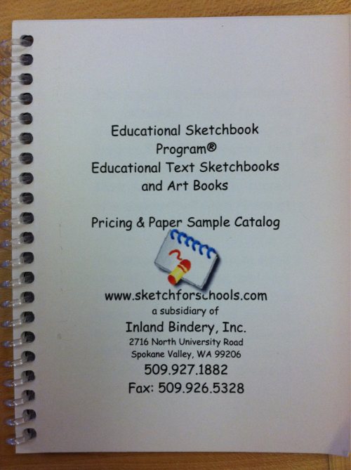 Art teachers do you need sketchbooks for your students?  Check out the Educational Sketchbook program from Inland Bindery, Inc.  Beautiful spiral bound sketchbooks for a very reasonable price!  Check them out!