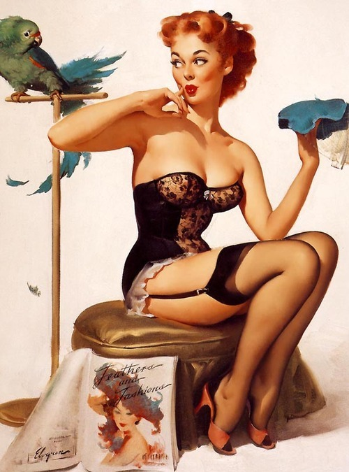 coelasquid:  I've always liked this pinup, I'm shallow, it's probably just because there's a parrot in it.
