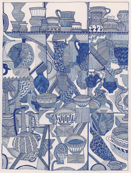 "fridaynotes:  ""vases and the case of vases in cases"" gel pen on paper, 2011  Glad to see an extraordinarily talented artist [and friend], Timothy Hull, has joined the Tumblr fold to share his work. Particularly love these gel pen pieces."