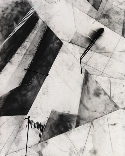 zeroing:  Karl Haendel. Abstract Chicago #1, 2010.  Graphite, enamel and charcoal on paper,  60 x 49 inches