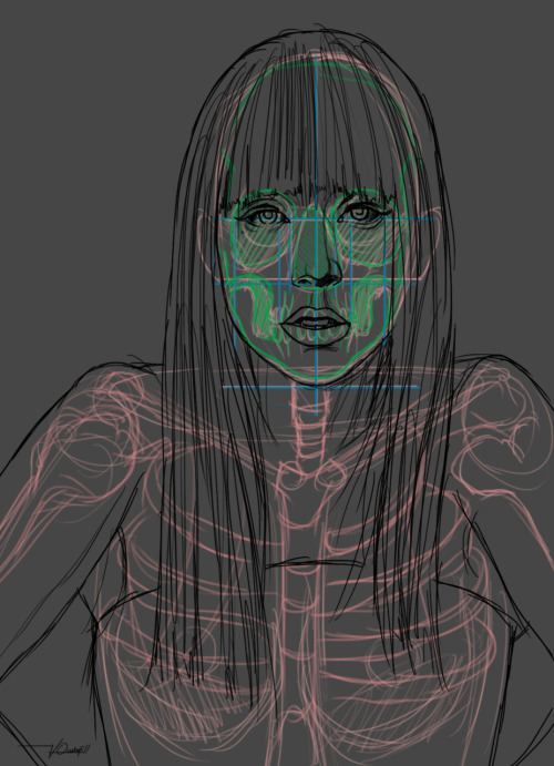 The anatomy of Gaga Green lines - skull Blue lines - facial symmetry red lines - skeleton