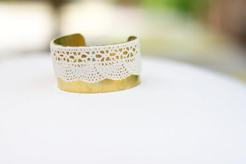 What a great addition to any outfit! Fab lace and gold bangle bracelet from Sweet Auburn.
